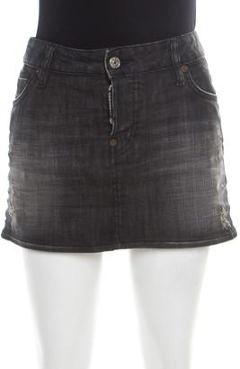 DSQUARED2 Black Faded Effect Denim Distressed Mini Skirt M