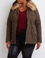 Charlotte Russe Plus Size Faux Fur Collar Anorak Jacket