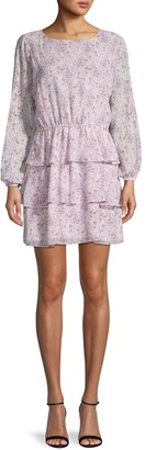 1 STATE Floral-Print Ruffle Shift Dress