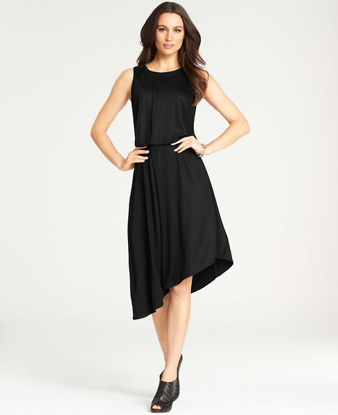Ann Taylor Tucked Asymmetric Hem Dress