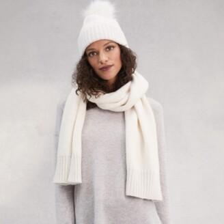 The White Company Lurex Hem Scarf, Cream, One Size