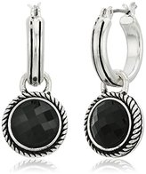 Napier Silver-Tone and Jet Drop Off Hoop Earrings