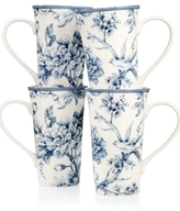 222 Fifth Adelaide Blue Set of 4 Latte Mugs