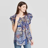 Knox Rose™ Women's Floral Print Flutter Short Sleeve Blouse - Knox RoseTM