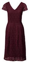 Lands' End Women's Petite Cap Sleeve Lace Sheath Dress-Classic Navy Fairisle
