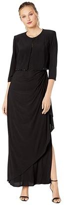 Alex Evenings Long Bolero Jacket Dress with Beaded Fringe Detail on Jacket (Black) Women's Dress