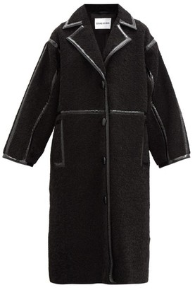 Stand Studio June Patent-bound Faux-shearling Teddy Coat - Black