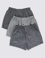 Marks and Spencer 3 Pack Pure Cotton Easy to Iron Striped Boxers