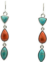 Barse Geuine Turquoise and Coral Stone Linear Earrings