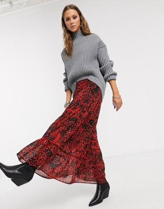 Religion energy ruffle hem maxi skirt