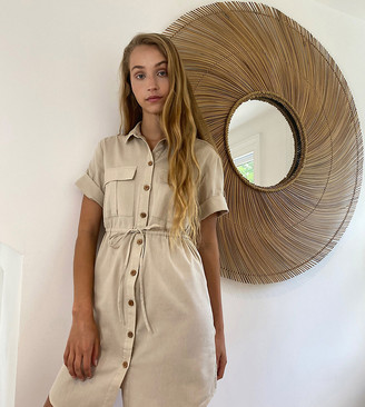 Noisy May Tall linen shirt dress with tie waist in cream