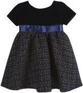 Andy & Evan Velvet And Tweed Dress (Toddler/Kid) - Navy-2T