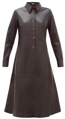 Dodo Bar Or Paya Panelled Leather Shirtdress - Womens - Black