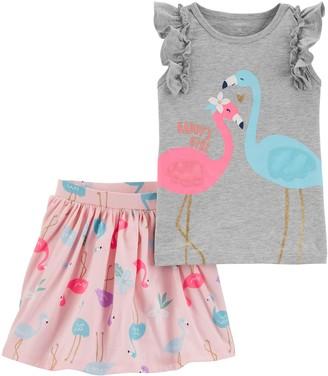 Carter's Toddler Girl 2-Piece Flamingo Flutter Tee & Skort Set
