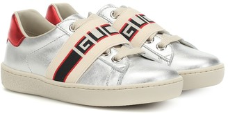 Gucci Kids Ace metallic leather sneakers