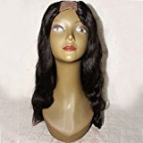 U Part Human Hair Wig for Women Middle Part 2x4 inch Opening Size Body Wave Brazilian Virgin Hair U Part Wig Natural Black Color (16 inch 150% density)