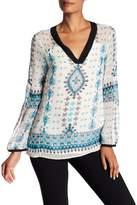 Nanette Lepore Blue Moon V-Neck Silk Blouse