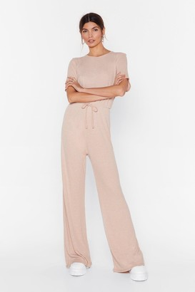 Nasty Gal short sleeve wide leg rib jumpsuit