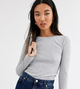 Monki ribbed crew neck top with long sleeve in gray
