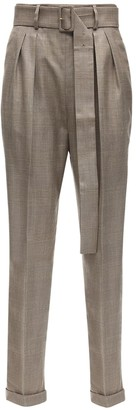 Agnona High Waist Wool Blend Pants W/ Belt