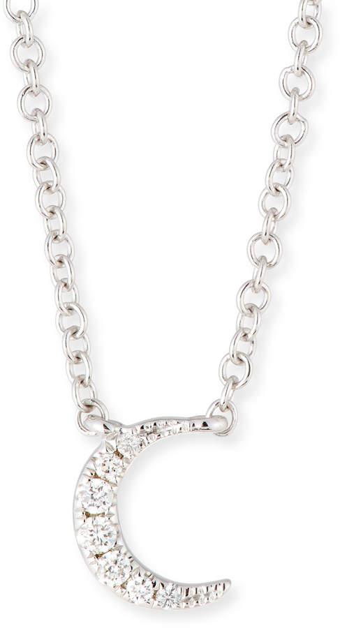 Ef Collection 14k Diamond Moon Pendant Necklace