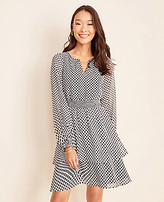 Ann Taylor Petite Windowpane Tiered Flounce Dress