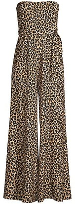 LIKELY Emile Leopard Strapless Flare Jumpsuit