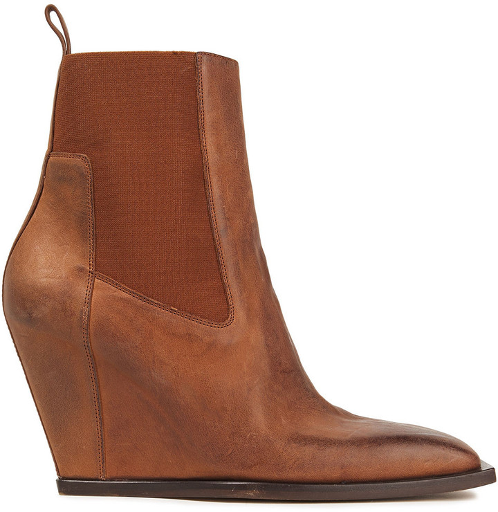 Rick Owens Burnished Leather Wedge Ankle Boots
