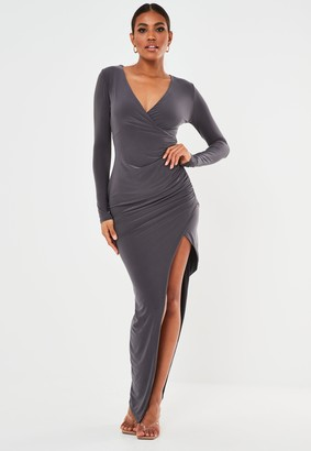 Missguided Grey Slinky Ruched Wrap Maxi Dress