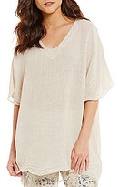 M Made in Italy V-Neck Linen Kimono Sleeve Tunic