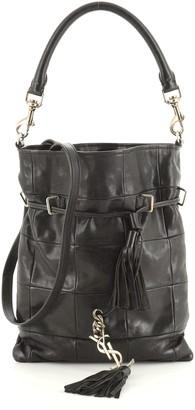 Saint Laurent Monogram Flat Bucket Bag Quilted Fringe Leather Small