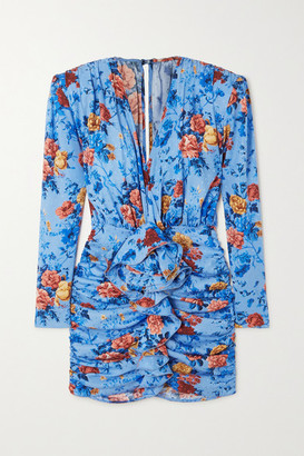 Magda Butrym Burgos Ruffled Floral-print Silk-satin Mini Dress - Light blue