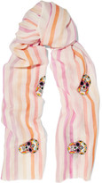 Janavi Embellished Striped Cashmere And Merino Wool-blend Scarf - Pastel pink