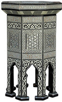 One Kings Lane Vintage Syrian Marquetry Side Table - de-cor - white/black