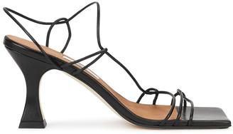 Miista Sally Crab 80 Black Leather Sandals