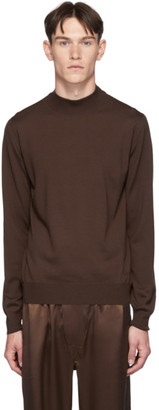 Brioni Brown Mock Neck Sweater