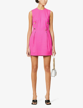 Versace Button-detail crepe mini dress