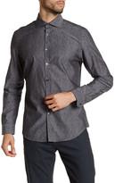 Calvin Klein Collared Long Sleeve Jacquard Print Shirt