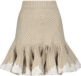 Zimmermann Master Rosette embroidered printed twill mini skirt