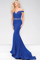 Jovani Off the Shoulder Jersey Mermaid Prom Dress 49254