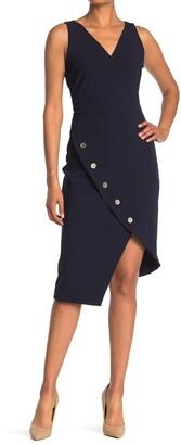Nanette Lepore Sleeveless Wrap Dress w/ Buttoned Hem