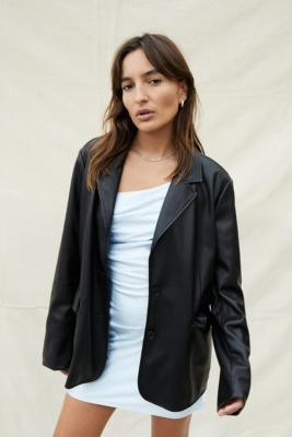 Urban Outfitters Faux Leather Blazer - Black L at