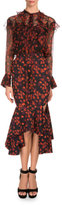 Givenchy Long-Sleeve Floral-Print Poet Blouse, Red