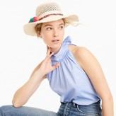 J.Crew Straw hat with rainbow pom-poms