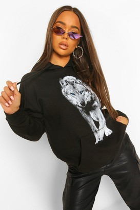 boohoo Wolf Front And Back Print Oversized Hoody