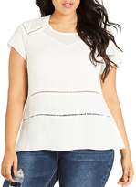 City Chic Night Out Eyelet Trim Top