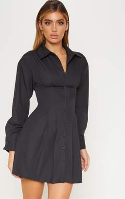 PrettyLittleThing Black Pleated Waist Detail Shirt Dress