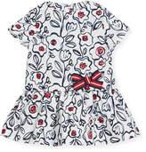 Petit Bateau Short-Sleeve Cotton Floral Dress, Size 3-36 Months