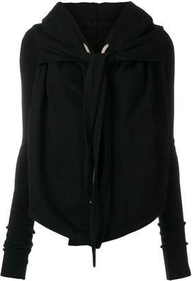 Rick Owens front knot hooded cardigan