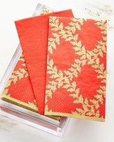 Caspari 30 Guest Towels in Acrylic Holder - Acanthus Red Trellis